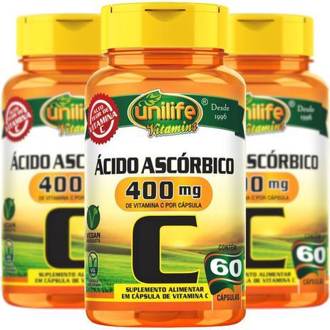 Vitamina C Ácido Ascórbico 60 Cápsulas Unilife Kit 3 Unidades