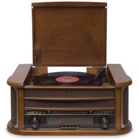 Imagem de Vitrola Raveo Ópera Bivolt Madeira com Conexão Bluetooth USB e Rádio FM