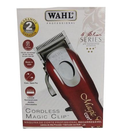 5f9ab6642 Wahl 5 star cordless magic clip máquina de corte sem fio bivolt ...