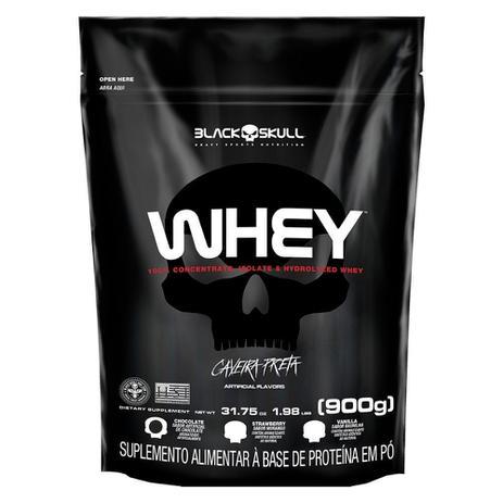 Imagem de Whey 100% Whey Protein Refil 900g Caveira Preta  Black Skull