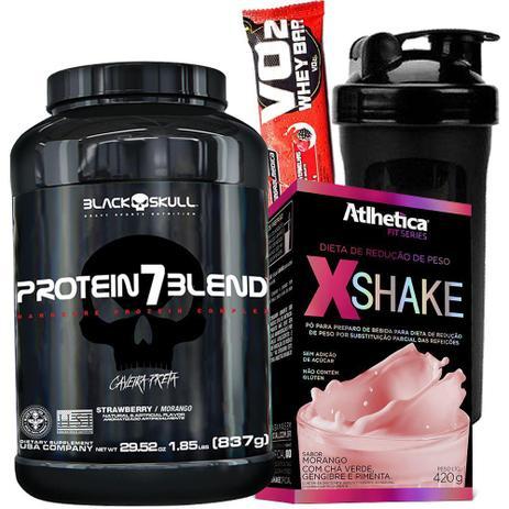 dd2127e9d Whey Protein 7 Blend 837g Isolado Concentrado Hidrolisado + X Shake 420g +  Coqueteleira Garrafinha - Black skull