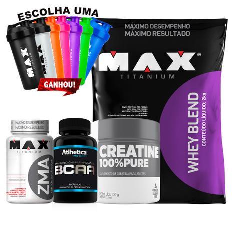 43a6d7b02 Whey Protein Blend 2kg + Zma + Bcaa + Creatina - Max Titanium - Whey ...