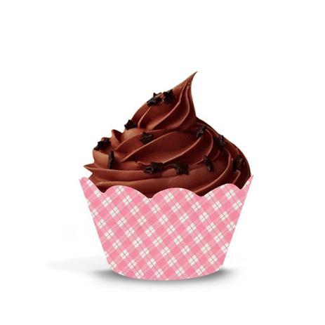 Imagem de Wrapper para Cupcake Xadrez Rosa 12 unidades Giracor