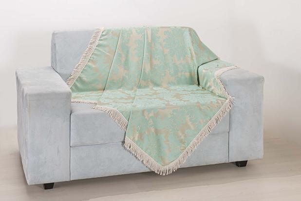 Imagem de Xale de Sofá Decoração Sala Tecido Jacquard 1,50 X 1,50 Verde Agua