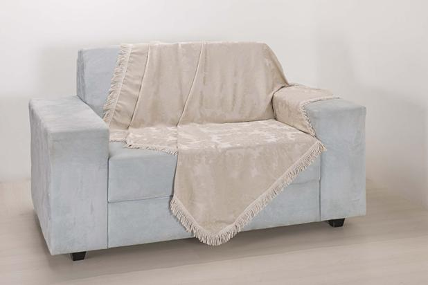 Imagem de Xale de Sofá Decoração Sala Tecido Jacquard 2,90 X 1,50 Palha