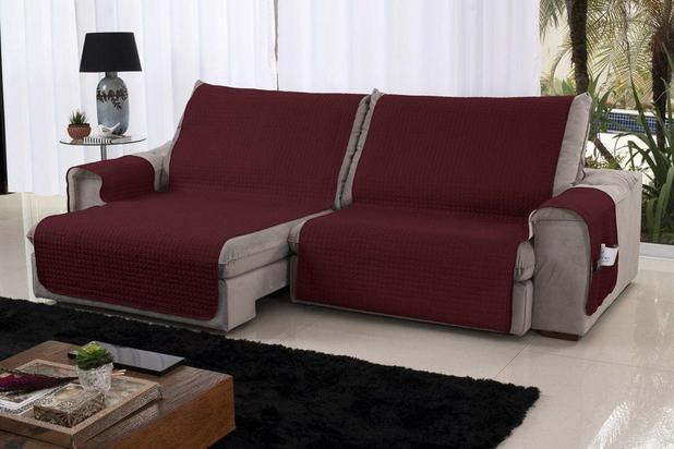 Imagem de Xále Protetor Sofá Retrátil Reclinável Assento 1,60m Cabernet e Palha - Lavive