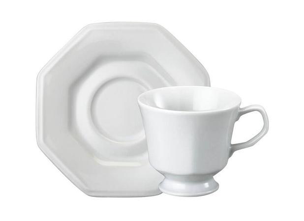 Imagem de Xícara Chá Porcelana com Pires 200 ml Branca Prisma Schmidt - SCH 035