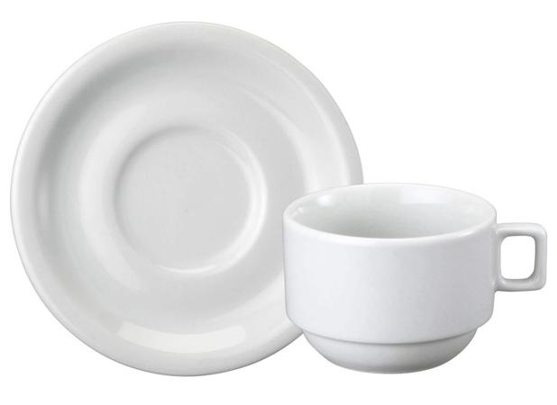 Imagem de Xícara Chá Porcelana com Pires 200 ml Branca Protel Schmidt - SCH 026