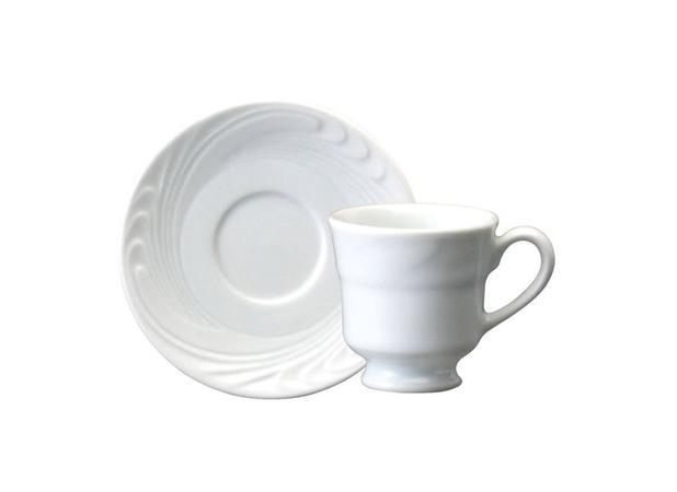 Imagem de Xícara Chá Porcelana com Pires 200 ml Branca Waves Schmidt - SCH 101