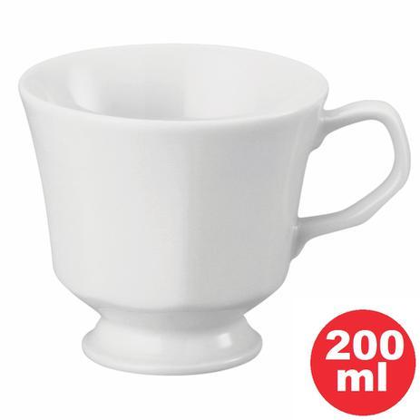Imagem de Xícara de Chá com Pé 20 Porcelana Branca 200ml Linha Prisma. Pode ser usado em microondas e Lava-Louça - Schmidt