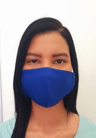 Imagem de 10  Máscara De Tecido Proteção Respiratória Lavável Cor AZUL, Tamanho Adulto - 2LC