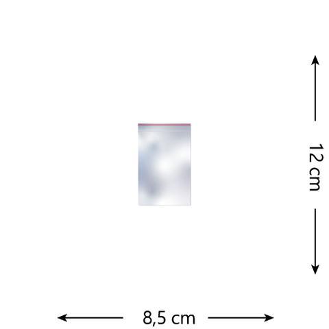 Imagem de 100 Saquinhos Zip Lock 8,5 x 12 cm
