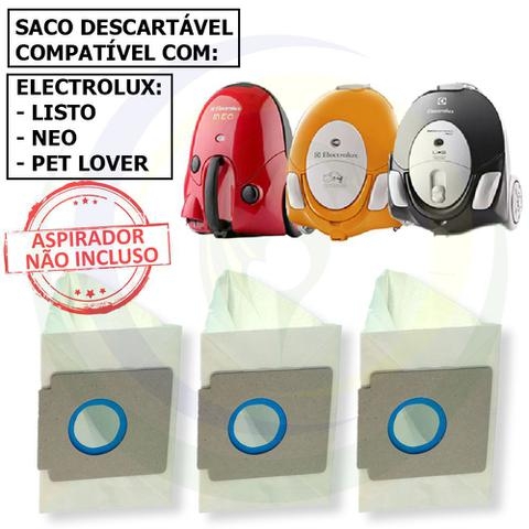 Imagem de 12 Saco Descartável para Aspirador De Pó Electrolux Listo / Neo / Pet Lover