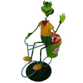Imagem de 2 Bonecos Casal Sapo com Bicicleta Enfeite e Decoracao Jardim Casa Flores (BON-M-14)