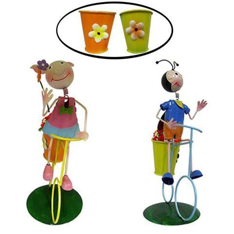 Imagem de 2 Bonecos de Enfeite Joaninha Porquinha com Bike Flores Jardim