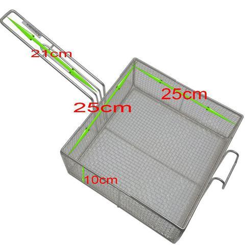 Imagem de 2 Cesto Peneira Fritura Fritadeira Quadrado Em Tela 25x25x10cm