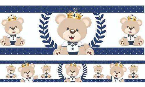 Imagem de 2 Faixas Decorativa Infantil Papel Parede Urso Príncipe Azul