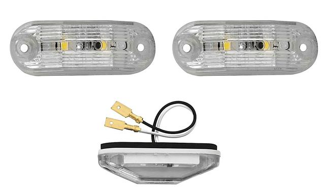 Imagem de 2 Lanterna Traseira Delimitadora Teto Placa LED CR 12V Ônibus Busscar / Induscar / Mascarello / Caminhão / Van