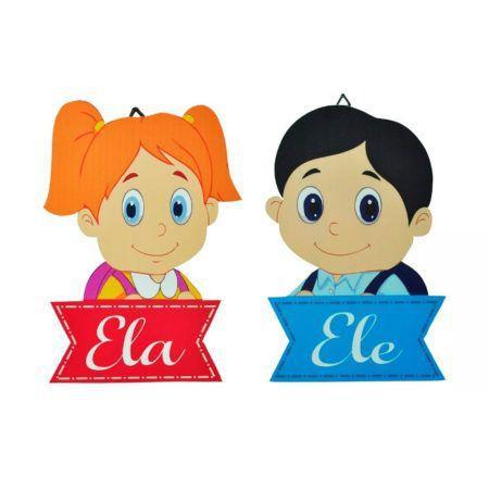 Imagem de 2 Placas Em MDF Decor - Ele e Ela - Menino e Menina - Banheiro - Quarto