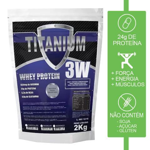 Imagem de 2x whey protein hidrolisado isolado concentrado 3w 4kg Titanium - Morango