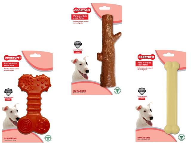 Imagem de 3 Brinquedos Durabone Tronco,Osso, Osso Flat Cães 22 Kg Mordida Forte Odontopet