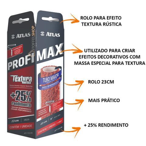 Imagem de 3 Rolo Para Textura Rústica 23cm Profimax Atlas Premium