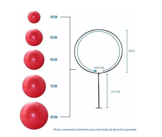 Imagem de 3 Suportes Para Bola Suiça Pilates De Parede 35cm Diametro