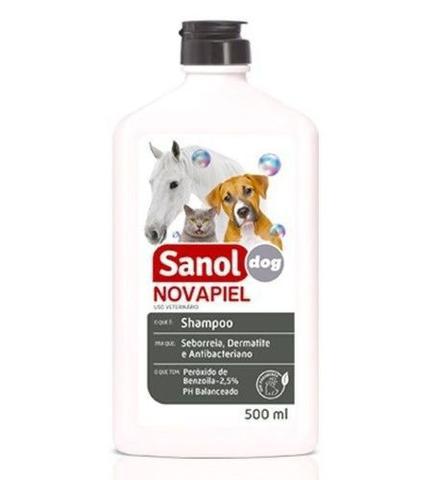 Imagem de 3 un Shampoo para Alergias Peróxido de Benzoila para Cachorro, Gato, Cavalo, Bactericida Seborreico Novapiel Sanol 500ml