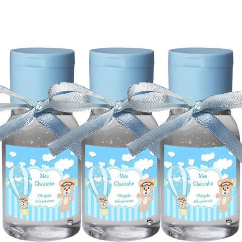 Imagem de 30 Lembrancinhas Maternidade 30ml -Ursinho Menino Arte Fixa Transp Tamp Azul Fita Azul Claro