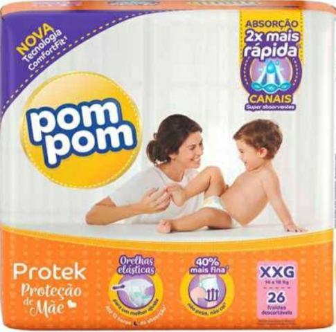 Imagem de 5 pacotes de Fraldas Pompom- Tamanho XXG ( 90 fraldas)