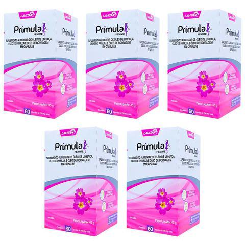 Imagem de 5x Lavitan prímula 60caps óleo de prímula linhaça e boragem para alivio da tpm menopausa e cólicas