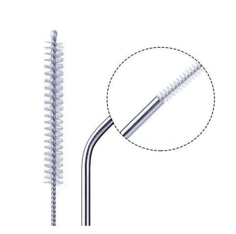 Imagem de 6 Canudos Reutilizável Curvo De Aço Inox + Escova