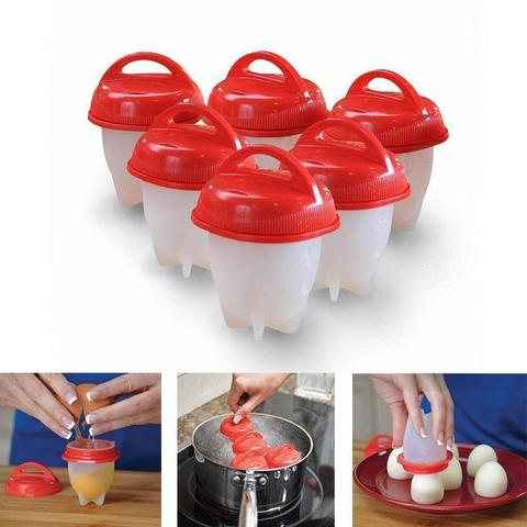 Imagem de 6 Copos Silicone Ovo Fogão Egglettes Duro Cooking Copo Ovos