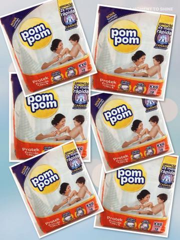 Imagem de 6 pacotes de Fraldas Pompom- Tamanho  XXG (108 fraldas)
