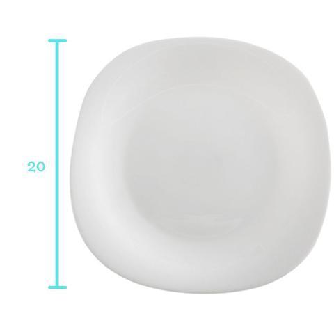Imagem de 6 Pratos Quadrados Raso 20cm Sobremesa Branco