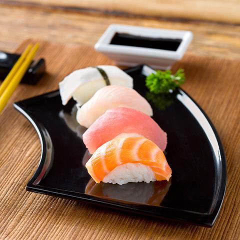 Imagem de 6 Travessas Leque Para Comida Japonesa Oriental Melamina Haus Preta