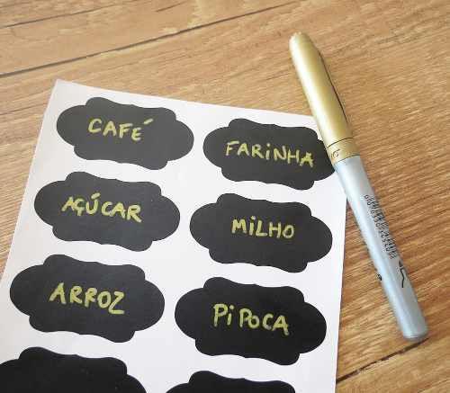 Imagem de 60 Etiquetas Adesivas Lousa + Caneta Pote Tempero Condimento
