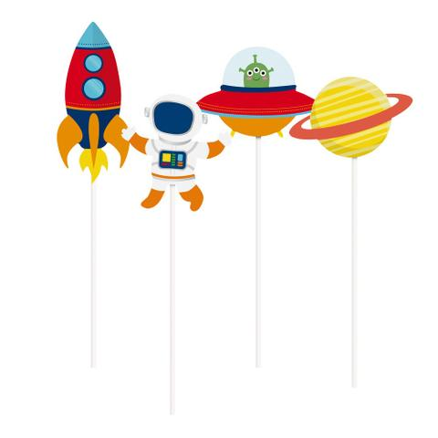 Imagem de 8 Picks Palito Longo Decorativo Astronauta Sortido Dec.Festa