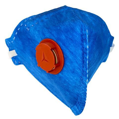 Imagem de 9 máscara respirador descartável pff3(s) com válvula pro agro wps1527 azul delta plus