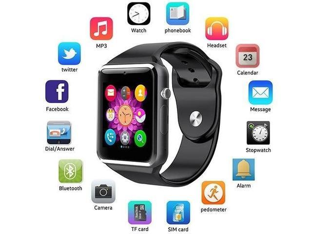 Imagem de A1 Relógio Smartwatch Android, Notificações Bluetooth, Camera Facebook Whatsapp - Preto