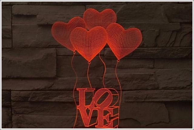 Imagem de Abajur Em Acrílico Com Led Balões Love 3d