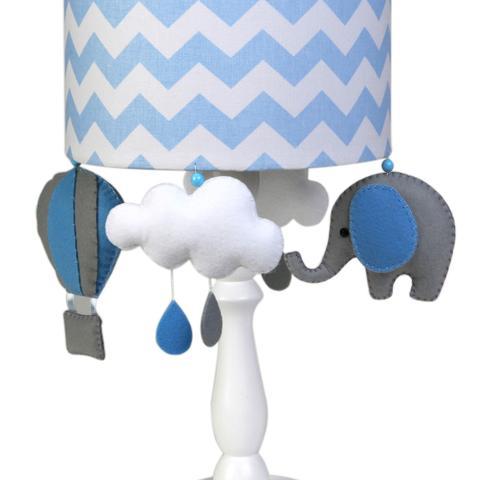 Imagem de Abajur Madeira Elefante Balão Azul Quarto Bebê Infantil Menino