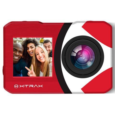 Imagem de Action Camera e Filmadora + Selfie 4K 16MP Vermelha Xtrax Wifi