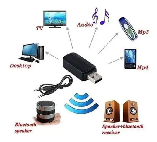 Imagem de Adaptador Receptor Bluetooth Usb Para Caixa De Som Doméstico Pc Notbook Carro Automotivo