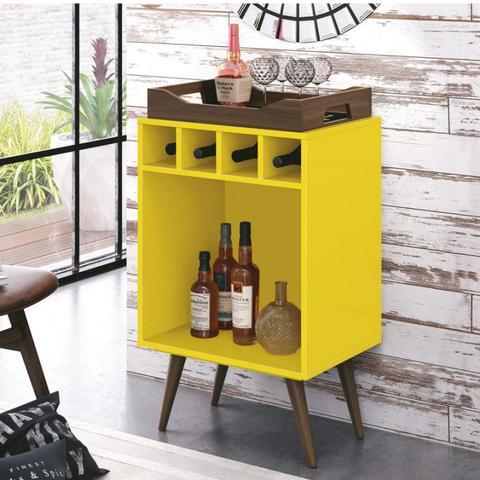 Imagem de Adega Bar com Bandeja Pub EDN Móveis Amarelo