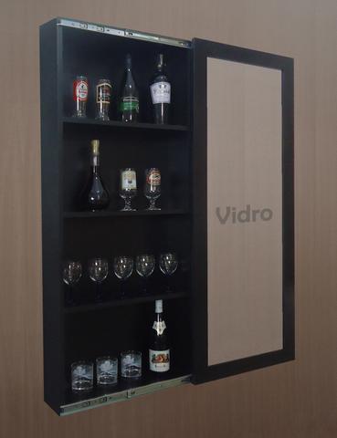 Imagem de Adega Bar para Vinhos e Bebidas Cristaleira Suspenso de Parede para Sala Estar ou Jantar Preto