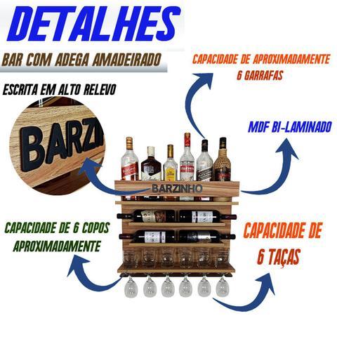 Imagem de Adega e Barzinho de Parede para sala bebidas com porta taças vinho - Barzinho - 60 x 51 - cor Nogueira