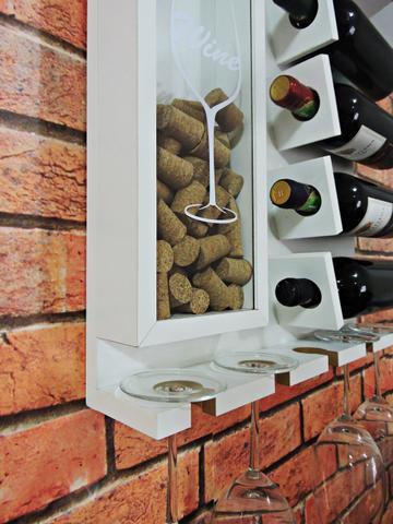 Imagem de Adega Vinhos Aparador MDF Garrafas Bebidas Porta Taças Rolhas Decoração Casa 45x45cm Branco