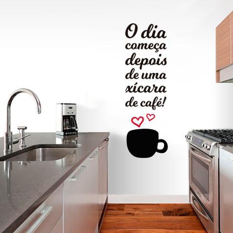 Imagem de Adesivo de Parede Frase Cozinha Xícara de Café