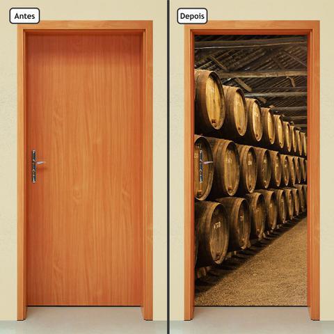 Imagem de Adesivo Decorativo de Porta - Barril De Vinho - 652cnpt